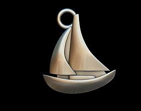 3D print model Sail Boat key ring pendant