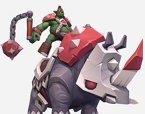 3D asset Handpaint Cartoon Goblin Rino Mount MMO