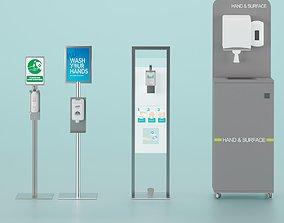 3D asset Sanitizer Stand Set