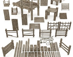 3D asset Wood and Rope collection