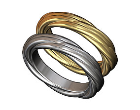 Overlapping rope braids ring 3D print model