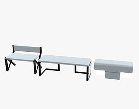 Minimalistic Sci-Fi Tables 3D asset