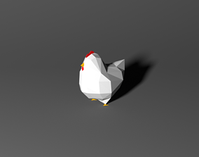 Low Poly Chicken 3D asset rigged
