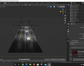 3D model animated Wet Road With Textures And Street Lamp