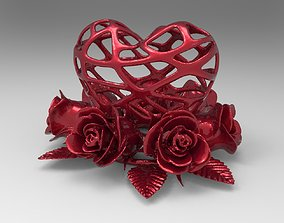 Heart and Roses for 3d printing cherub