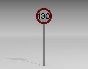 3D model 130 Speed limit sign