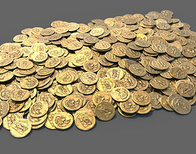 3D model FREE - Single Roman Gold Coin and Coin Stack