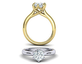 Six Prong Trellis Solitaire Engagement Ring 3dmodel