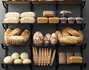 Rack with bread products 3D model