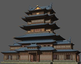 3D asset Ancient Chinese Shop Buildings with Internal 1
