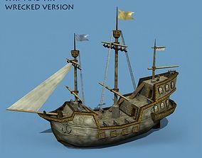 Medieval Sailing Ship 3D model