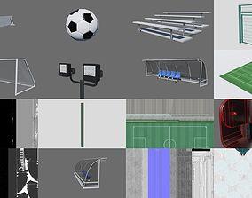 3D model PBR Football Soccer Stadium Field