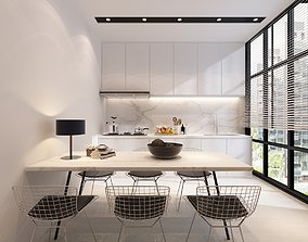 3D model Dining view with kitchen