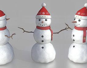 3D asset game-ready SNOWMAN merry