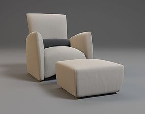 3D Armchair With Pouf