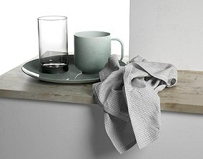 3D Plate with Cups and Towel