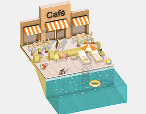 3D asset Summer Cafe Pizza by the Pool sun lounger