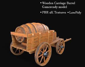 Wooden Carriage Barrel 3D asset