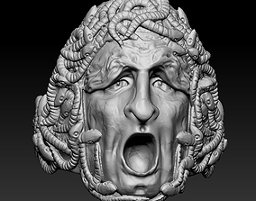 Scary Screaming Face Head Snakes Ring jewel 3D print model