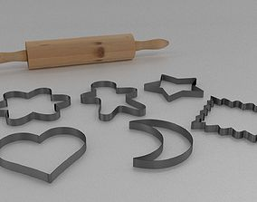Rolling Pin and Cookie Cutter Baking Set 3D model