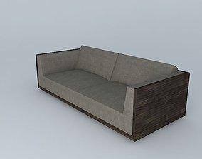 Wood Wraped Sofa 3D model