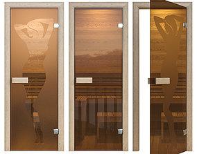 3D model Door glass for a sauna