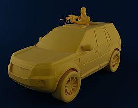 3D print model Man with MK16 Sniper in Car