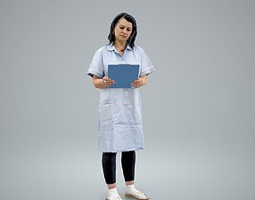 3D model Standing Nurse Reading Documents 1