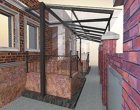 Glazed veranda with doors and glass visor 3D model