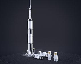 3D model Lego Nasa Apollo Saturn Rocket with moon 2