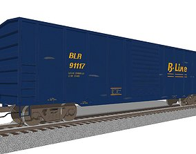 Train Car - Boxcar - Railroad Freight Train 3D model