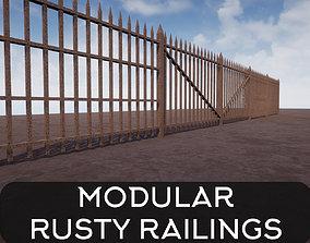 3D model game-ready Modular Rusty Railing