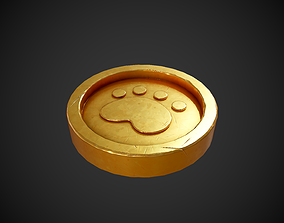 Stylized Gold Coin With Paw 3D model
