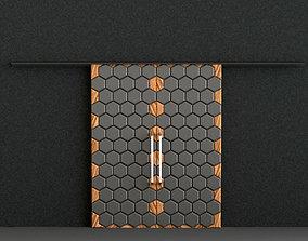 3D architectural Hexagon Double Sliding Door