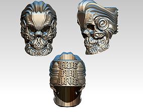 Unique Detailed Custom Skull Ring 3D printable model 4