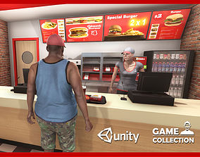 Burger Interior 3D asset animated