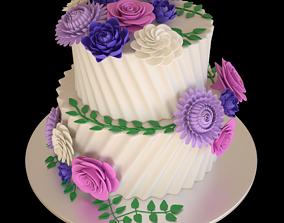 Floral cake wedding 3D model