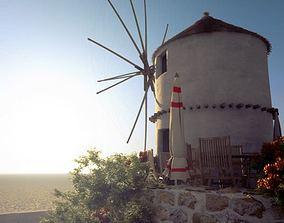 Restaurant With Windmill Scene 3D