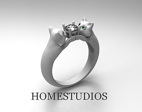 3D print model RING CATS WITH GEMS