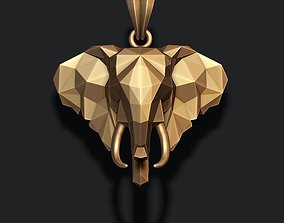 Elephant pendant low poly 3D printable model