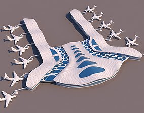 Air Port Shaded Organic Building 3D