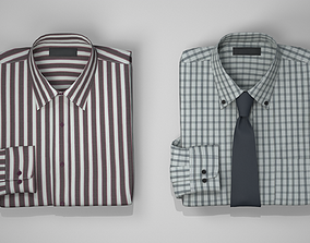 Folded Shirts with and without tie 3D model