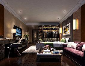 Bedroom 3D interior tablelamp