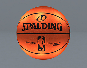 spalding nba basketball low poly game ready 3d animated