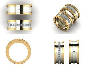 Ring 3D print model wedding ring couple