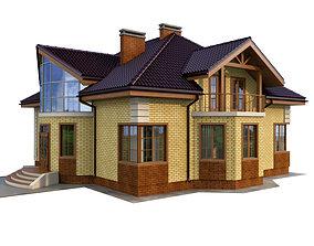 3D model Brick house facade