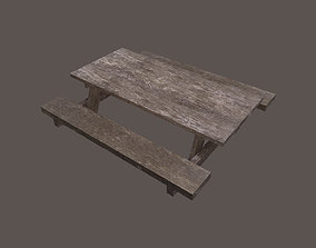 Street Wooden Table 3D model