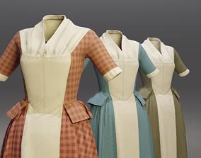 Traditional Colonial Dresses Set 3D model