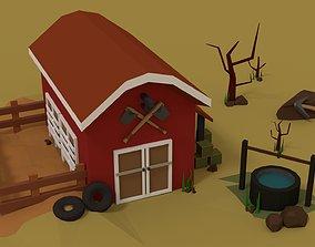 Simple Barn 3D asset