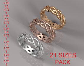 BRAIDED RING 21 SIZES pack 3D printable model